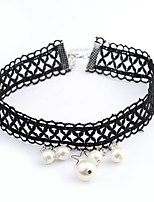 cheap -Women's Ball Simple Classic Choker Necklace Imitation Pearl Imitation Pearl Cloth Alloy Choker Necklace , Daily