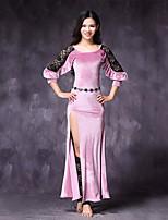 abordables -Danza del Vientre Vestidos Mujer Actuación Raso de Terciopelo Encaje Separado Manga de longitud 3/4 Cintura Media Vestidos