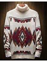 Недорогие -Для мужчин На каждый день Простой Обычный Пуловер С принтом,Хомут Длинный рукав Полиэстер Осень Плотная Слабоэластичная