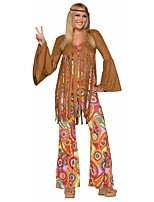 cheap -Vintage Hippie 1970s Costume Women's Party Costume Coffee Vintage Cosplay Polyester Long Sleeves Bell Briefs