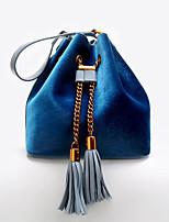 cheap -Women Bags Velvet Shoulder Bag Tassel for Casual All Season Light Grey Blue