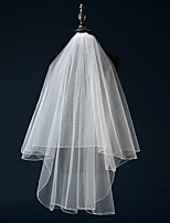 cheap -Two-tier Pencil Edge Bridal Wedding Wedding Veil Fingertip Veils 53 Fringe Tulle