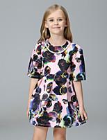 abordables -Robe Fille de Quotidien Vacances Fleur Polyester Printemps Eté Mignon Princesse Rose Claire