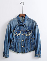 cheap -Women's Going out Simple Spring Fall Denim Jacket,Geometric Shirt Collar Long Sleeve Short Polyester Embroidered