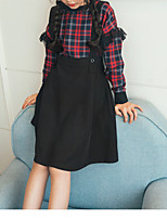 Girl's Casual/Daily Plaid Dress,Polyester Winter Fall Long Sleeves Simple Wine