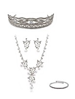 cheap -Women's Tiaras Bridal Jewelry Sets Rhinestone Imitation Diamond Alloy Butterfly Fashion European Wedding Party Body Jewelry 1 Necklace
