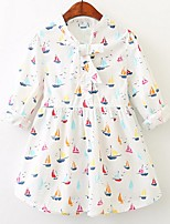 cheap -Girl's Casual/Daily Solid Floral Rainbow Dress,Cotton Spring Fall Long Sleeves Simple Cute Lolita Blue White