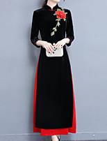 billige -Damer Simple I-byen-tøj Skede Kjole Ensfarvet Blomstret,Høj krave Maxi 3/4 Ærme Nylon Vinter Efterår Medium Talje Mikroelastisk Tynd