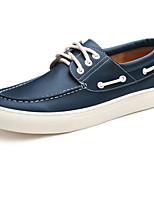 Недорогие -Для мужчин обувь Кожа Весна Осень Удобная обувь Топ-сайдеры для Повседневные Черный Синий Темно-русый Темно-коричневый Вино