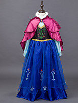 cheap -Princess Fairytale Elsa One Piece Dress Cloak Kid Christmas Birthday Masquerade Festival / Holiday Halloween Costumes Blue Color Block