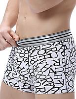 abordables -Homme Elastique Imprimé Boxers Moyen-Spandex 1pc Noir