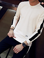 Men's Plus Size Daily Set Solid Round Neck Belt Not Included Micro-elastic Cotton Polyester Long Sleeve Autumn/Fall