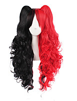 cheap -Women Synthetic Wig Long Wavy Black/Red With Ponytail Lolita Wig Costume Wig