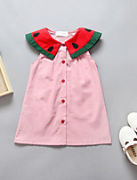 Girl's Casual/Daily Solid Color Block Dress,Polyester Spring Summer Sleeveless Simple Blushing Pink