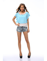 cheap -Women's Going out Cute Active Sexy Street chic All Seasons Blouse,Color Block Round Neck Short Sleeve Polyester Medium