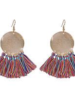 baratos -Mulheres Brincos Compridos Europeu Fashion Algodão Liga Forma Geométrica Jóias Diário