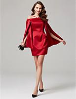 economico -A tubino Corto / mini Raso Cocktail Vestito con Drappeggio di lato A pieghe di TS Couture®