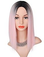 14 Pink Color High Temperature Fiber Silky Straight Synthetic Hair Short Ombre Wigs for Women