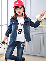 cheap -Girls' Daily Floral Embroidered Clothing Set,Cotton All Seasons Long Sleeve Cute Blue