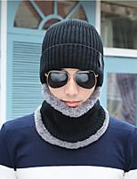 Недорогие -Для мужчин Для офиса На каждый день Широкополая шляпа,Зима Вязанная Однотонный Трикотаж Черный