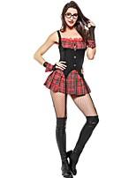 abordables -Estudiante / Uniforme de escuela Disfrace de Cosplay Mujer Halloween Carnaval Festival / Celebración Disfraces de Halloween Negro Bloques