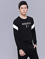 cheap -Men's Petite Casual/Daily Street chic Sweatshirt Letter Round Neck Without Lining Micro-elastic Cotton Polyester Long Sleeves Winter Fall