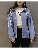 cheap -Women's Going out Street chic Winter Fall Denim Jacket,Solid Print Shirt Collar Long Sleeve Regular Polyester