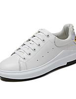 preiswerte -Damen Schuhe PU Frühling Herbst Komfort Sneakers Walking Flach Geschlossene Spitze für Normal Weiß Schwarz