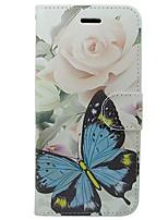 Недорогие -Кейс для Назначение Apple iPhone X iPhone 8 Бумажник для карт Кошелек со стендом Флип Чехол Бабочка Цветы Твердый Кожа PU для iPhone X