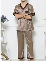 abordables -Costumes Pyjamas Homme,Points Polka Fin Polyester Marron Or Vin Gris Clair