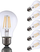 cheap -6pcs 4W 350lm E26 LED Filament Bulbs A60(A19) 4 LEDs COB Dimmable LED Lights Warm White 2700K AC 110-130V
