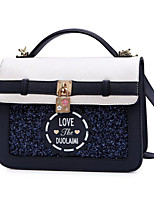Women Bags PU Polyester Tote Appliques for Casual All Season Sky Blue Dark Blue