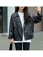 cheap -Women's Going out Simple Fall Leather Jacket,Solid V Neck Long Sleeve Regular PU Oversized