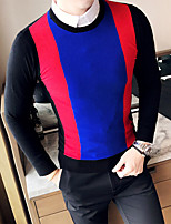 cheap -Men's Casual/Daily Simple Regular Pullover,Color Block Round Neck Long Sleeve Polyester Winter Fall Thick Micro-elastic