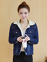 cheap -Women's Casual/Daily Street chic Winter Fall Denim Jacket,Solid Shirt Collar Long Sleeve Regular Cotton