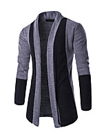 cheap -Men's Daily Sports Regular Cardigan,Solid Stand Long Sleeves Polyester Winter Fall Thick Micro-elastic