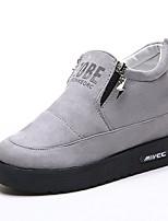 preiswerte -Damen Schuhe Gummi Frühling Herbst Komfort Sneakers Flacher Absatz Runde Zehe für Schwarz Grau