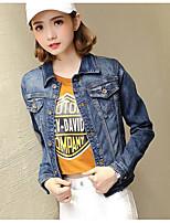 economico -Giacca di jeans Da donna Quotidiano Casual Autunno,Alfabetico Colletto Cotone Standard Maniche lunghe Con ricami