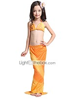cheap -The Little Mermaid Skirt Swimwear Bikini Kid Christmas Masquerade Festival / Holiday Halloween Costumes Rainbow Yellow Color Block