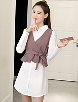 Women's Going out Simple Fall Shirt Dress Suits,Solid Shirt Collar Long Sleeves Pure Color Cotton Polyester Inelastic