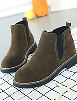 cheap -Women's Shoes PU Winter Comfort Boots Chunky Heel Round Toe Closed Toe Booties/Ankle Boots for Casual Light Brown Green Black
