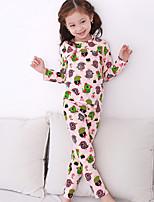 cheap -Girls' Daily Animal Print Clothing Set,Cotton Fall Gray Blushing Pink