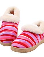 Недорогие -Для женщин Обувь Ткань Весна Осень Удобная обувь Тапочки и Шлепанцы На плоской подошве для Повседневные Темно-синий Кофейный Красный