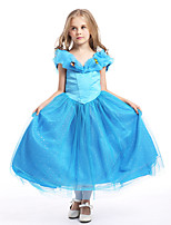 cheap -Princess Fairytale One Piece Dress Party Costume Kid Christmas Birthday Masquerade Festival / Holiday Halloween Costumes Blue Solid