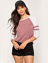economico -T-shirt Da donna Quotidiano Per eventi Moda città Inverno Autunno,A strisce Rotonda Poliestere