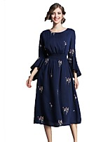 cheap -SHE IN SUN Women's Going out Work Casual A Line Swing DressPrint Round Neck Midi Long Sleeve Polyester Fall Mid Rise Inelastic Opaque