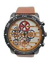 Недорогие -Муж. Наручные часы Уникальный творческий часы Китайский Кварцевый Крупный циферблат сплав Кожа Группа Винтаж Cool Оранжевый