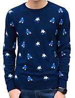 preiswerte -Herren Standard Pullover-Alltag Arbeit Freizeit Aktiv Street Schick Solide Punkt Druck Rundhalsausschnitt Langarm Polyester Elasthan