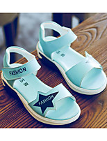 cheap -Girls' Shoes Cowhide Spring Summer Comfort Sandals Walking Shoes Magic Tape for Casual White Blue Pink