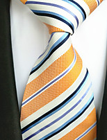 cheap -Men's Polyester Necktie,Work Casual Striped All Seasons Yellow